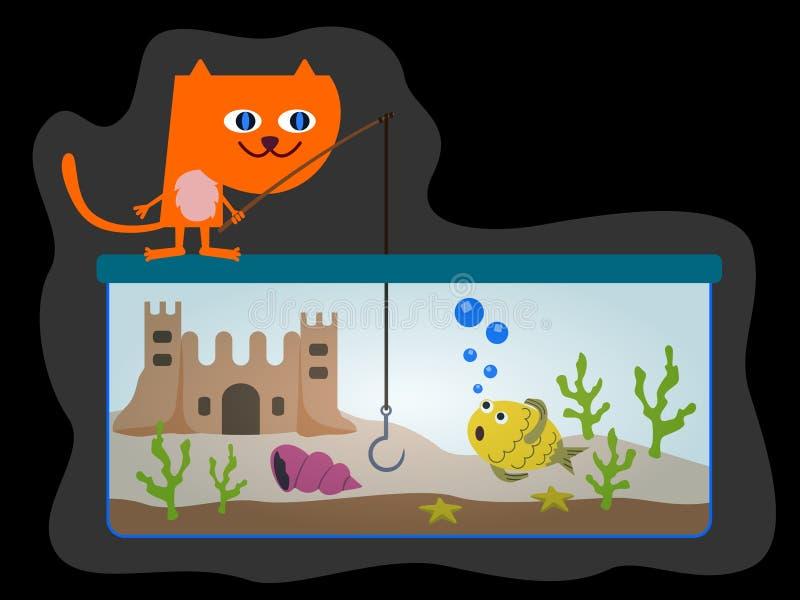 Download Cat fishing stock illustration. Illustration of aquarium - 29839706