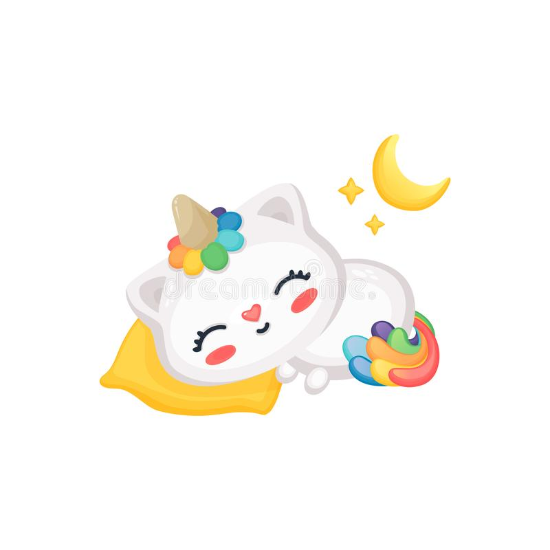 Cartoon cat unicorn sleeping, cute funny kitten with rainbow horn and tail taking a nap on pillow under moon and stars stock illustration