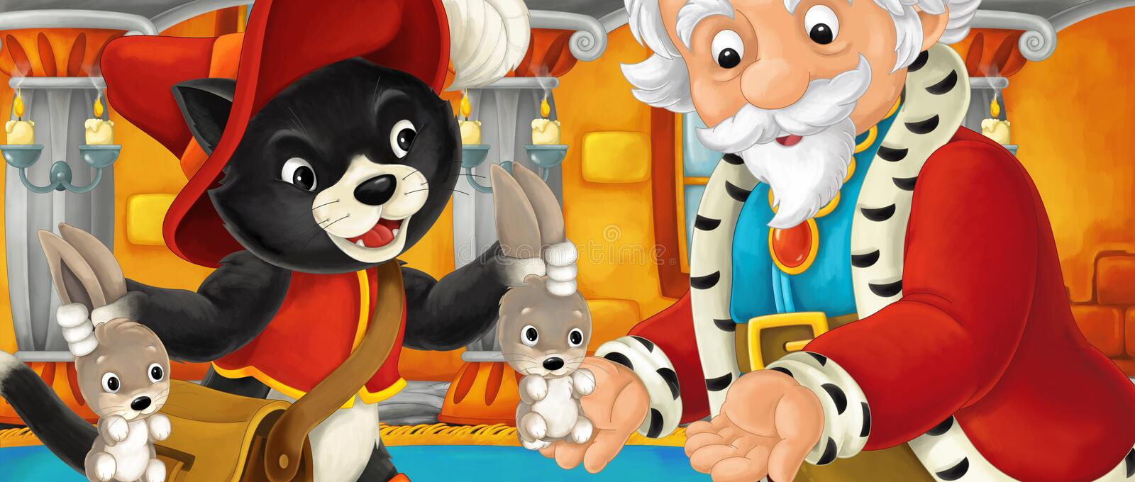 Cartoon cat visiting king in his castle and giving him hares royalty free illustration
