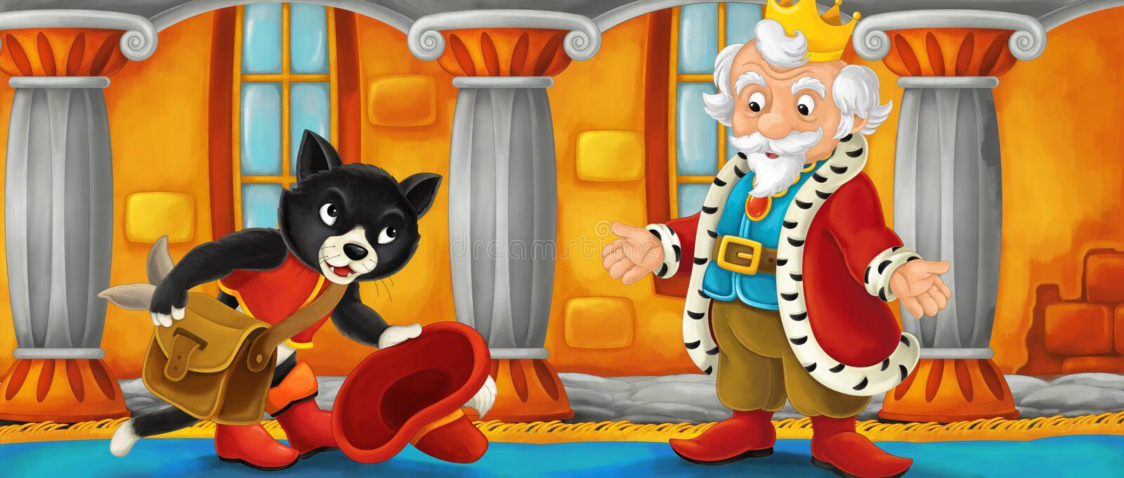 Cartoon cat visiting king in his castle royalty free illustration