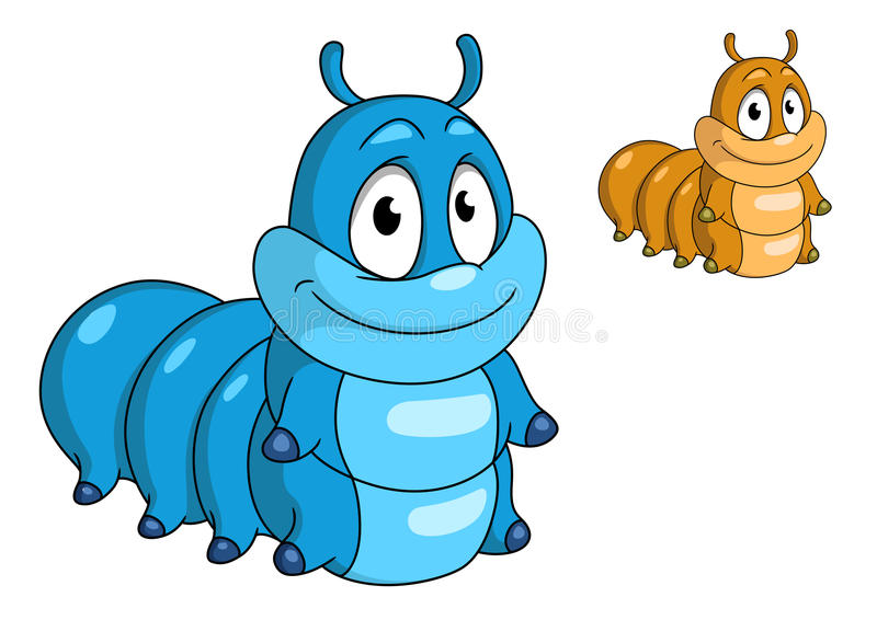 Cartoon caterpillar insect. Character. Blue and beige color animals for design, such as kids illustration and wildlife royalty free illustration