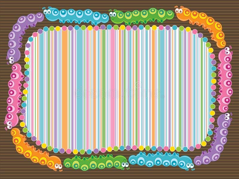 Cartoon caterpillar stripes frame stock illustration