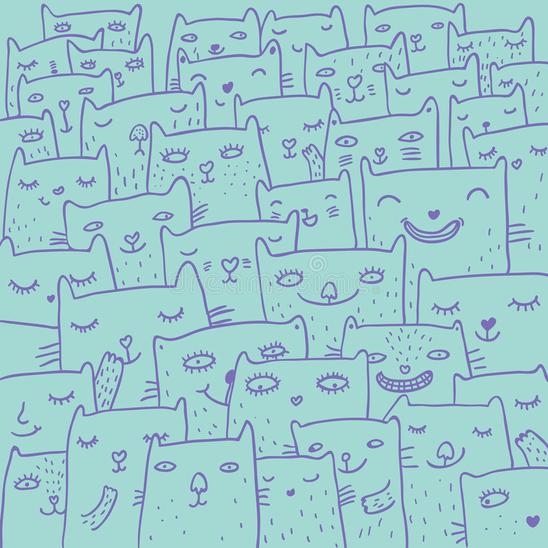 Download Cartoon cats stock vector. Illustration of painting, pattern - 8609619