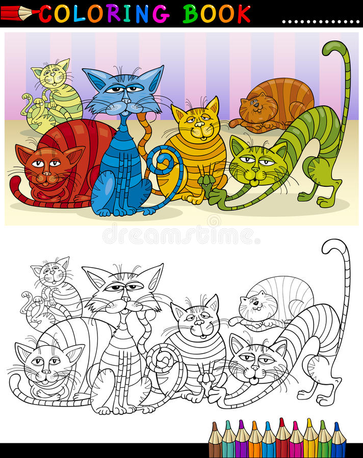 Download Cartoon Cats For Coloring Book Or Page Royalty Free Stock Images - Image: 26710669