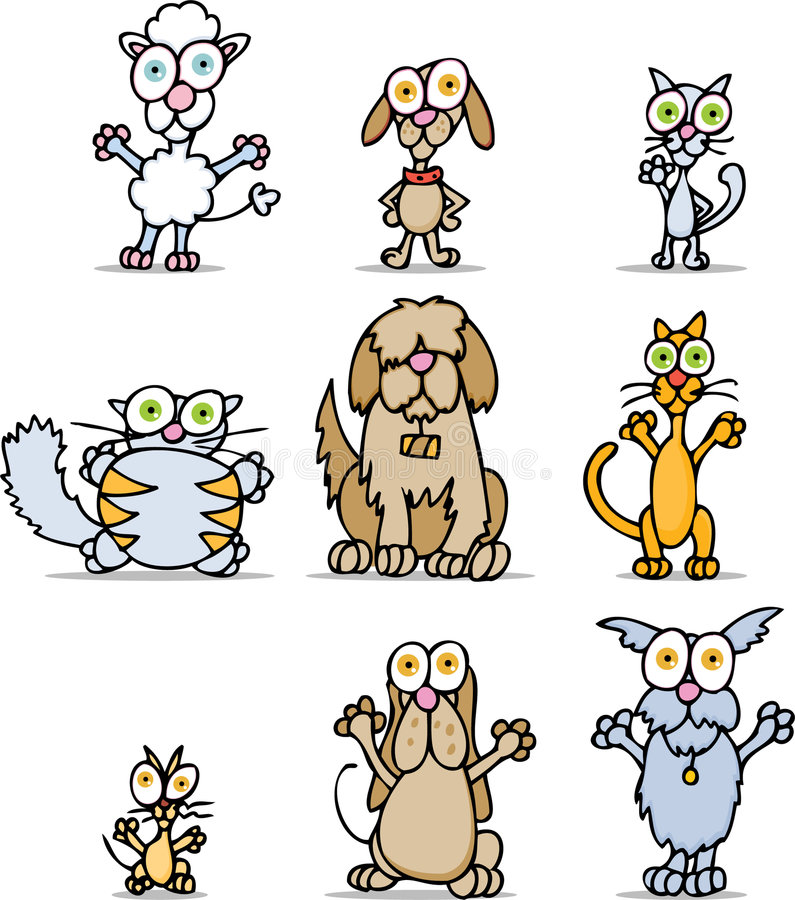 Cartoon Cats and Dogs vector illustration