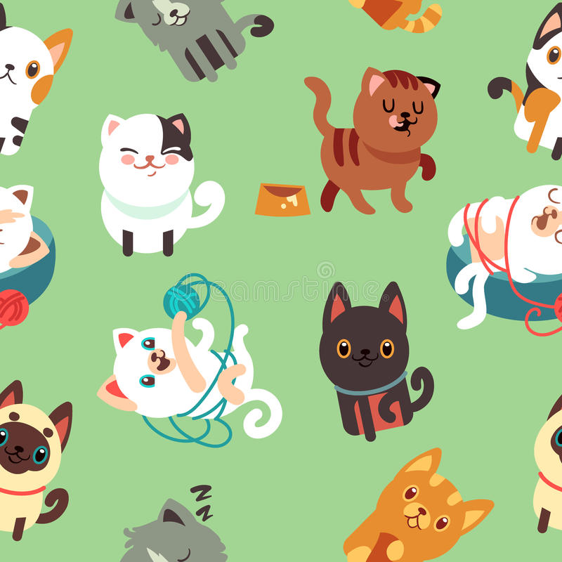 Cartoon cats, kitten vector seamless background stock illustration