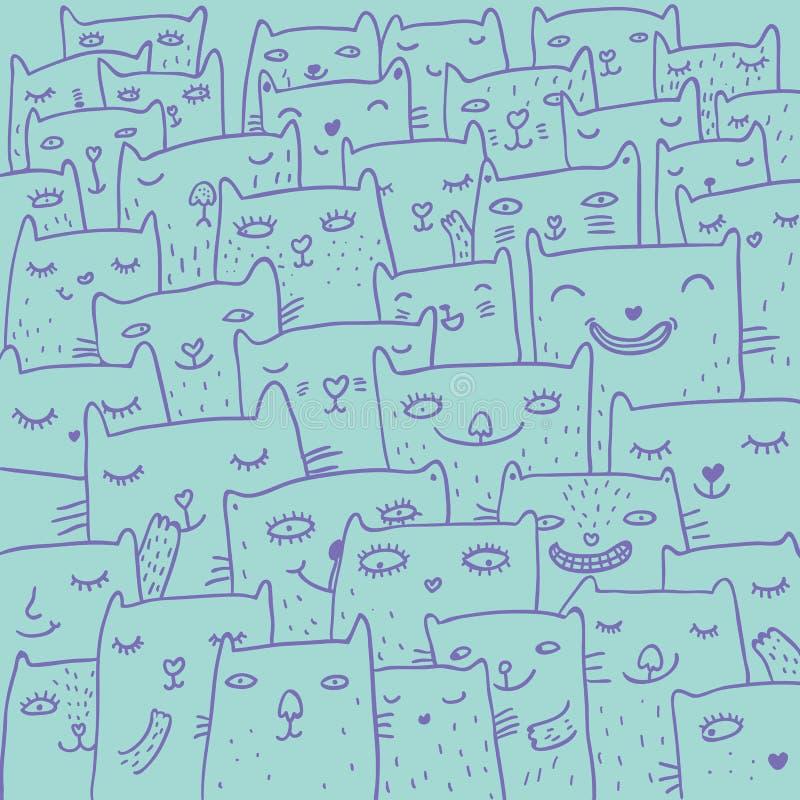 Cartoon cats pattern stock illustration