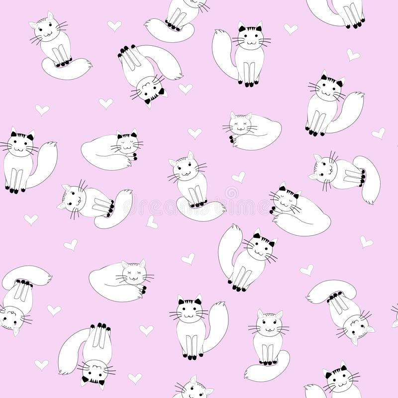 Cartoon cats on pink background, seamless pattern for girls vector illustration