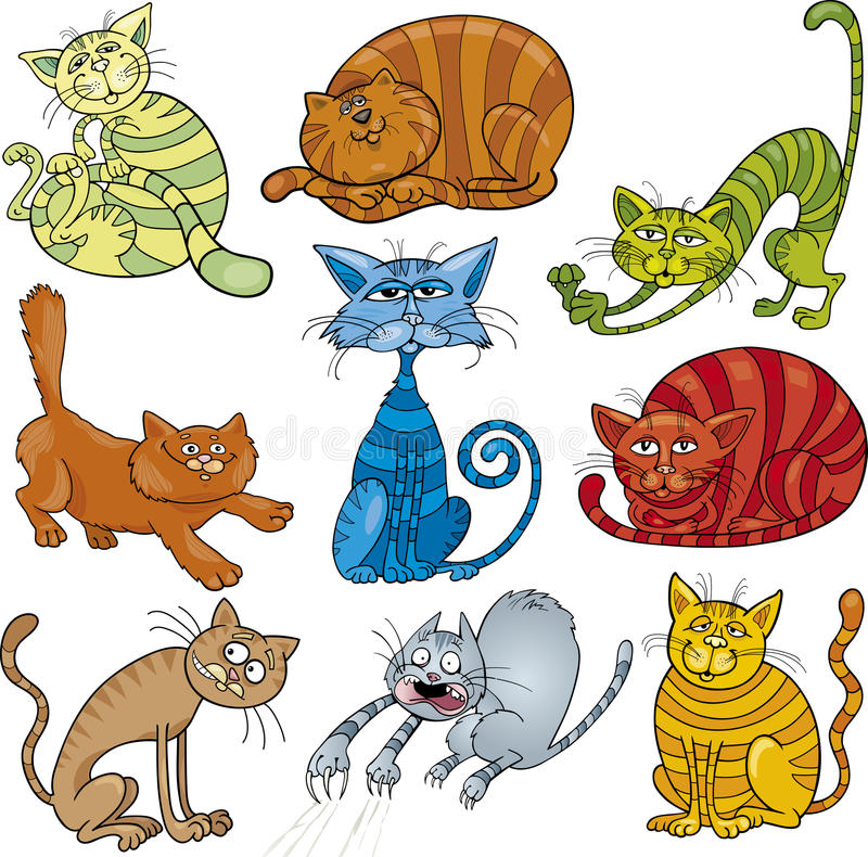 Cartoon cats set royalty free illustration