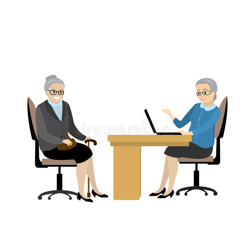 Cartoon caucasian business grandmothers talking in office,. Isolated on white background,flat vector illustration royalty free illustration
