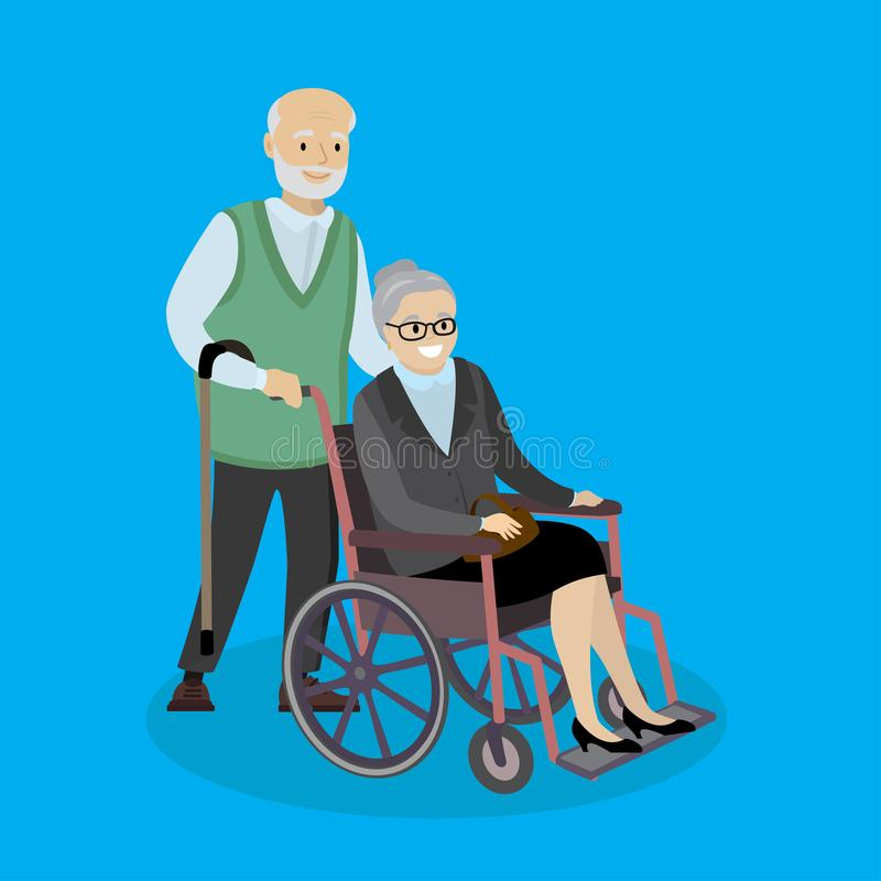 Cartoon caucasian Grandpa with a cane and grandmother in a wheel. Chair,couple of old people,vector illustration vector illustration