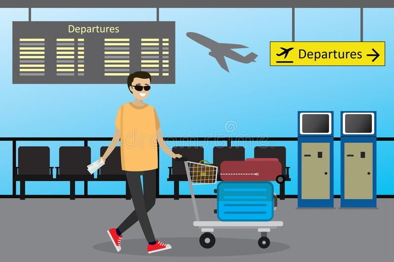 Cartoon caucasian man the passenger rolls the airport trolley wi. Th suitcases and bag,airport interior,vector illustration vector illustration
