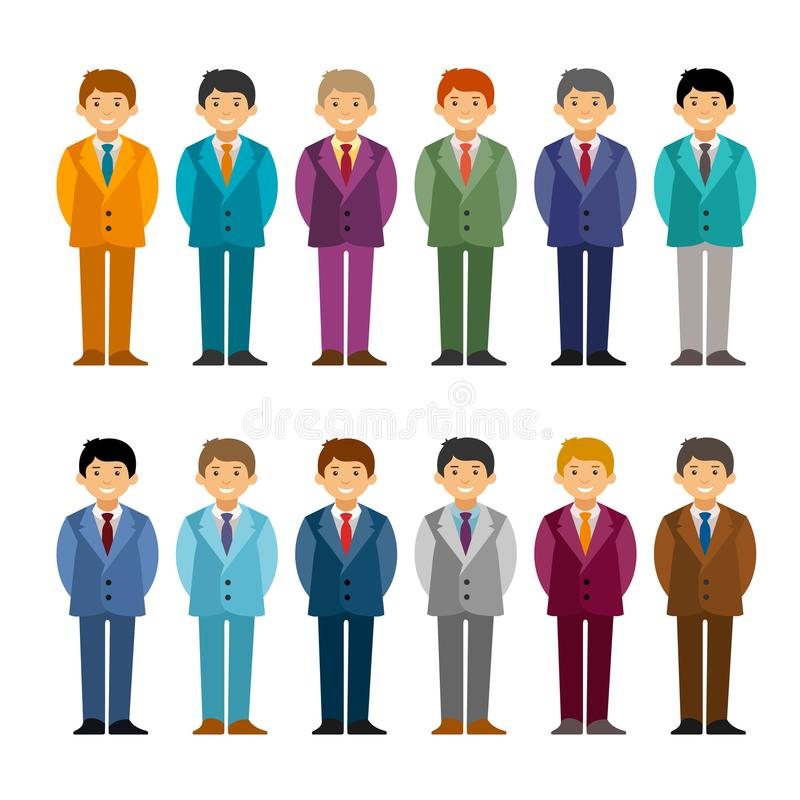 Cartoon caucasian men in business suit set flat style. Standing with hands behind. Cartoon caucasian men in business suit set flat style. Standing with hands stock illustration