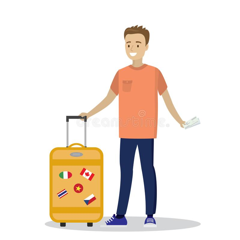 Cartoon caucasian passenger with suitcase and boarding pass. Happy smiling man on a journey. Vector illustration royalty free illustration