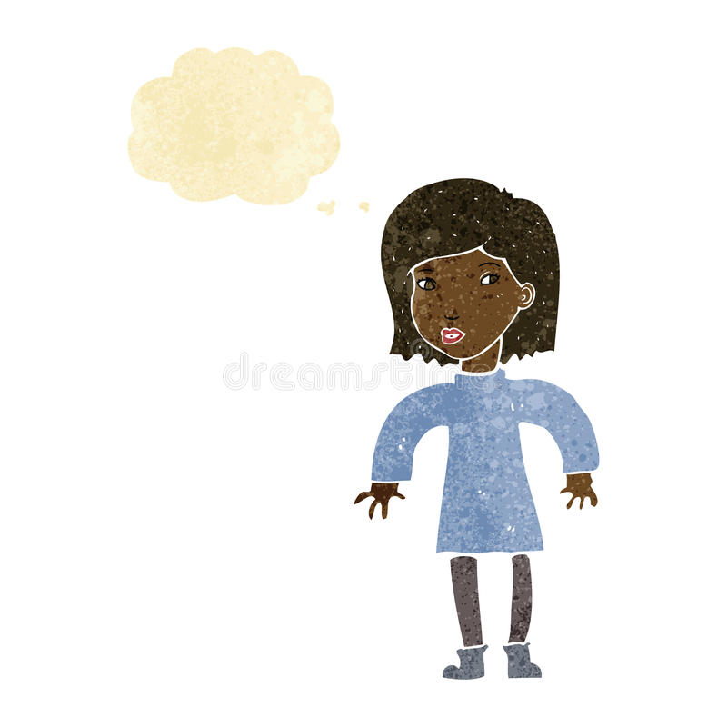 Cartoon cautious woman with thought bubble royalty free illustration