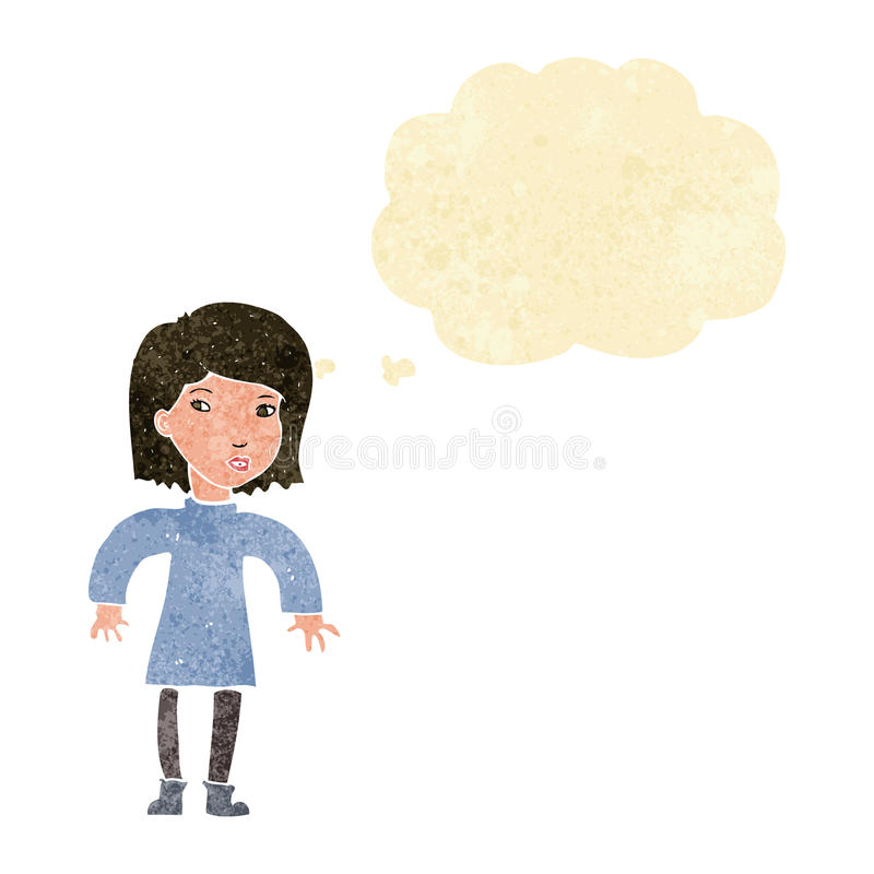 Cartoon cautious woman with thought bubble vector illustration