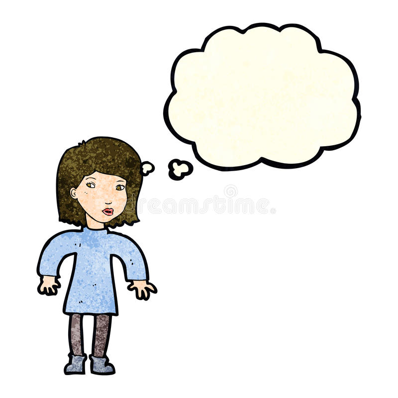 Cartoon cautious woman with thought bubble stock illustration