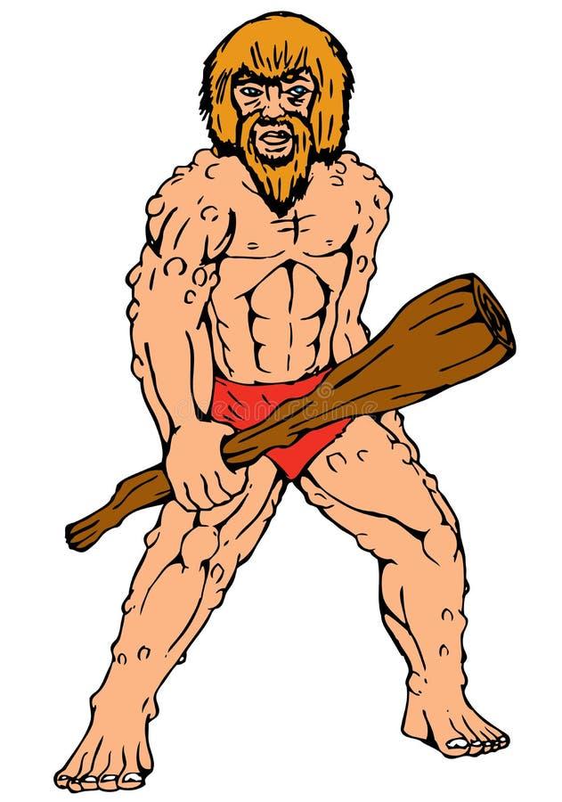 Cartoon Caveman Holding Club Stock Photography