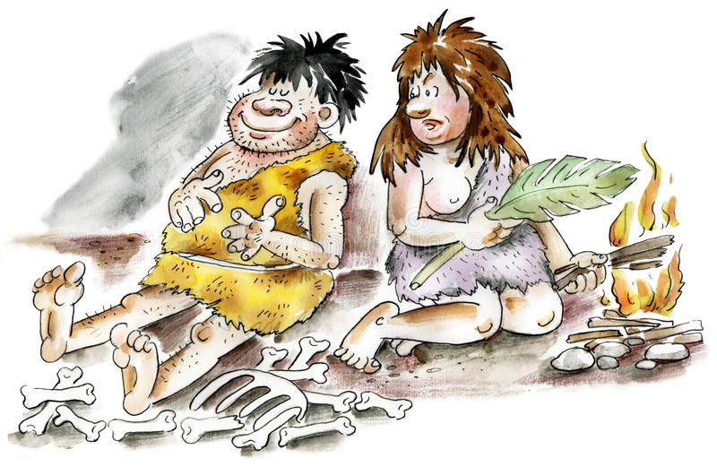 Cartoon cavemen and woman. By the fire royalty free illustration