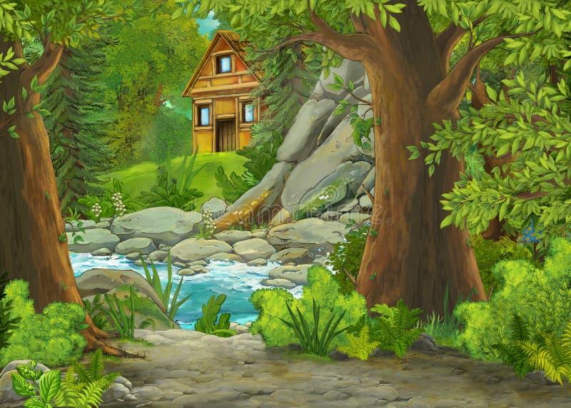 Cartoon cena com montanhas e vale com fazenda e jardim perto da floresta e riacho ilustração royalty free