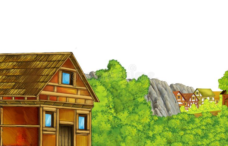 Cartoon, cena de verão com caminho para a aldeia agrícola - ninguém no local com fundo branco para texto ilustração stock