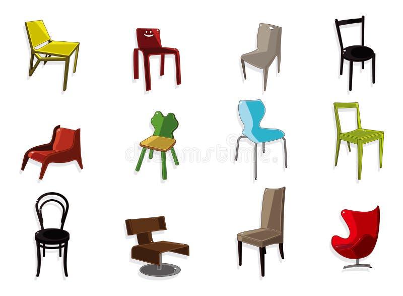 Cartoon Chair Furniture Icon Set Royalty Free Stock Photo