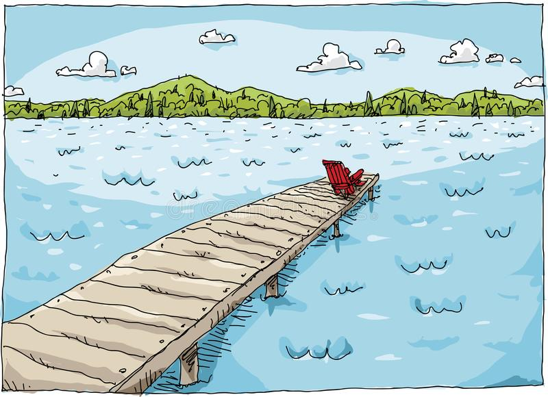 Lake Dock. Cartoon of a chair sitting at the end of a long dock on a lake on a bright, fresh summer day stock illustration