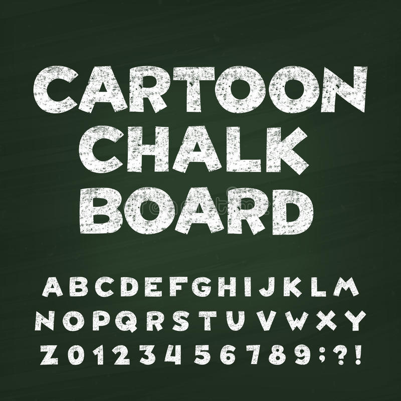 Cartoon chalk board alphabet font. Hand drawn letters, numbers and symbols. stock illustration