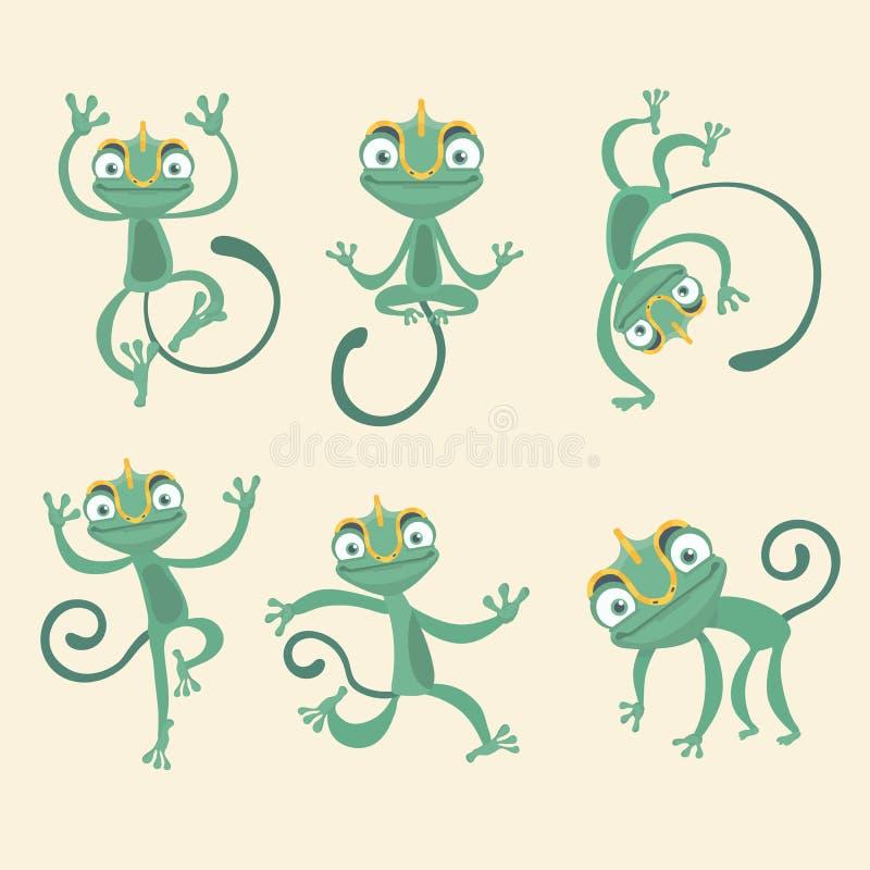 Cartoon chameleon set. Cartoon chameleon cute illustration set stock illustration