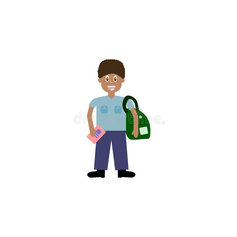Cartoon character, African Boy with a school satchel show two fingers as v sign.,vector eps10 stock illustration