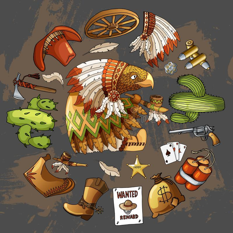 Cartoon character american eagle set of classic western items round design print. Cartoon character american wisdom eagle smoking pipe of peace in traditional stock illustration