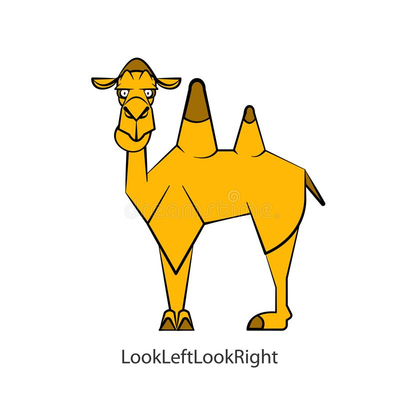 Funny camel 2 color vector illustration