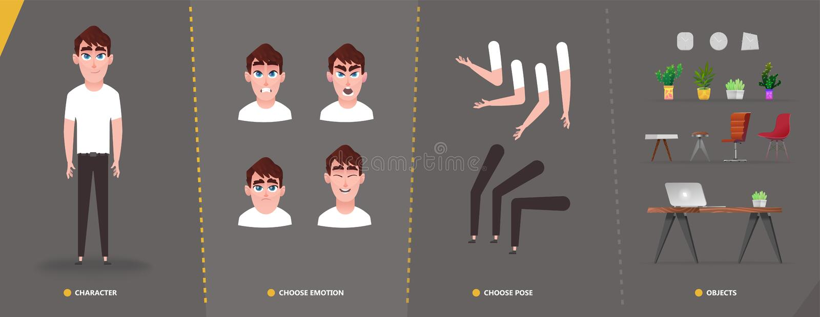 Cartoon character animation set, emotions faces, hands and foots set for your motion design stock illustration