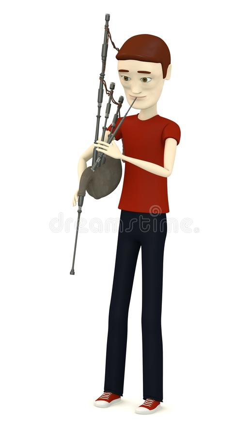 Cartoon Character With Bagpipe Stock Photo