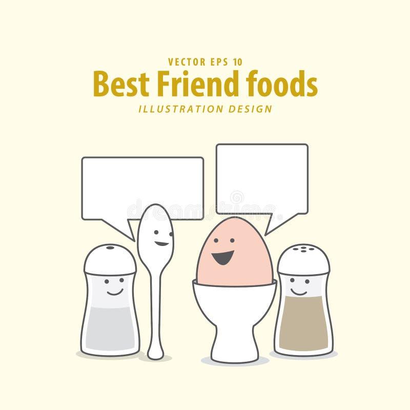 Cartoon character of Boiled egg, Spoon, Pepper bottle & Salt bo stock illustration