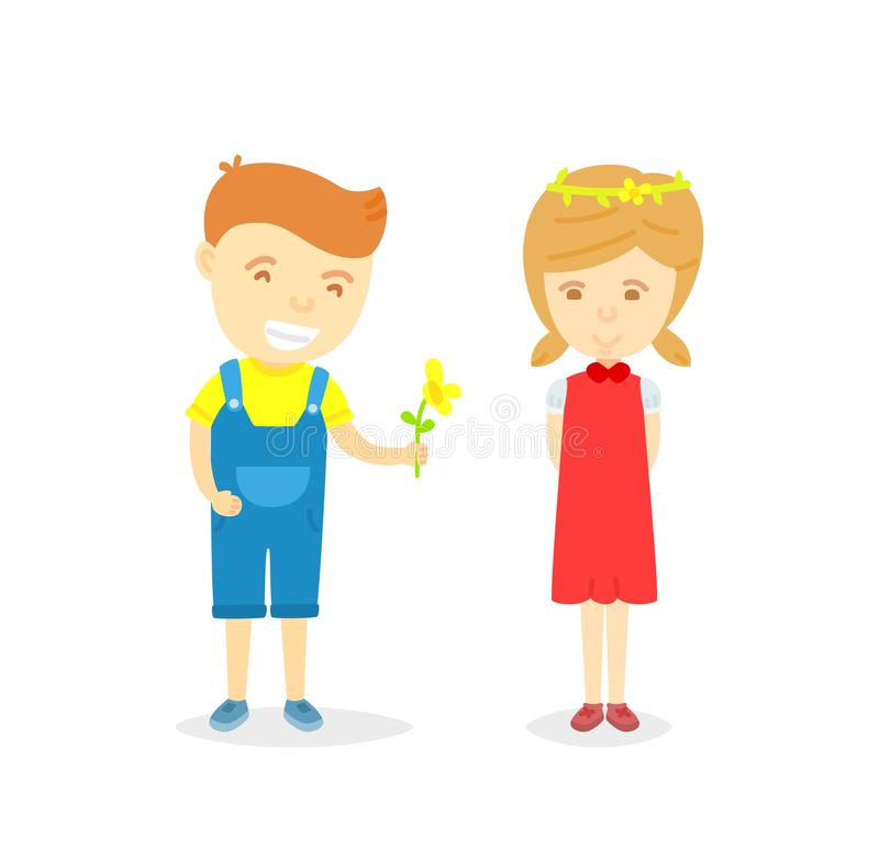 Cartoon character of boy and girl in loving concept. Boy giving flower to girl for love, isolated on white background, Character of happy boy and girl, Love vector illustration
