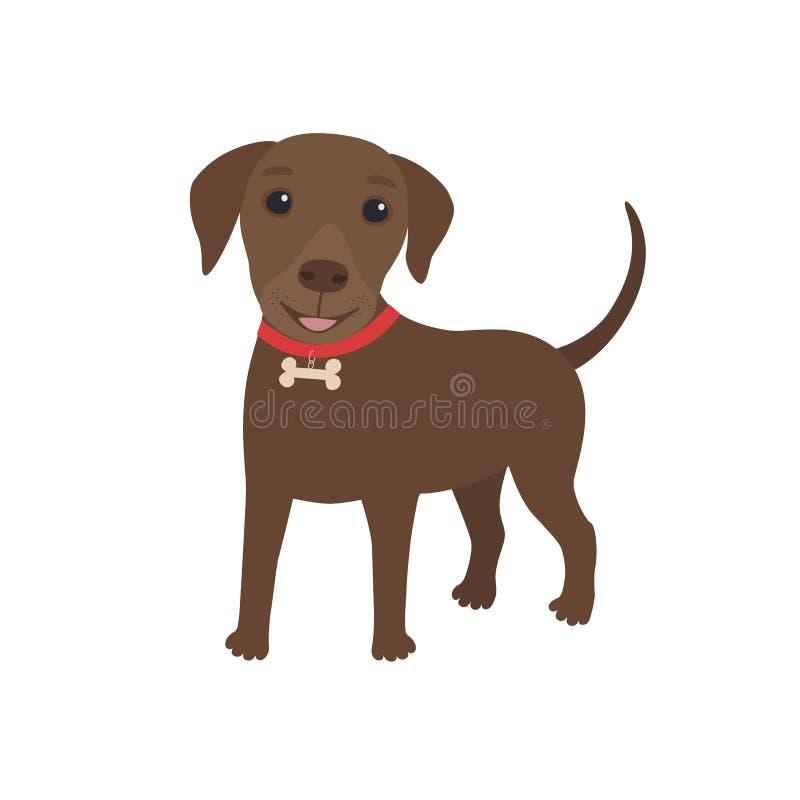 Cartoon character brown labrador dog happy stock illustration