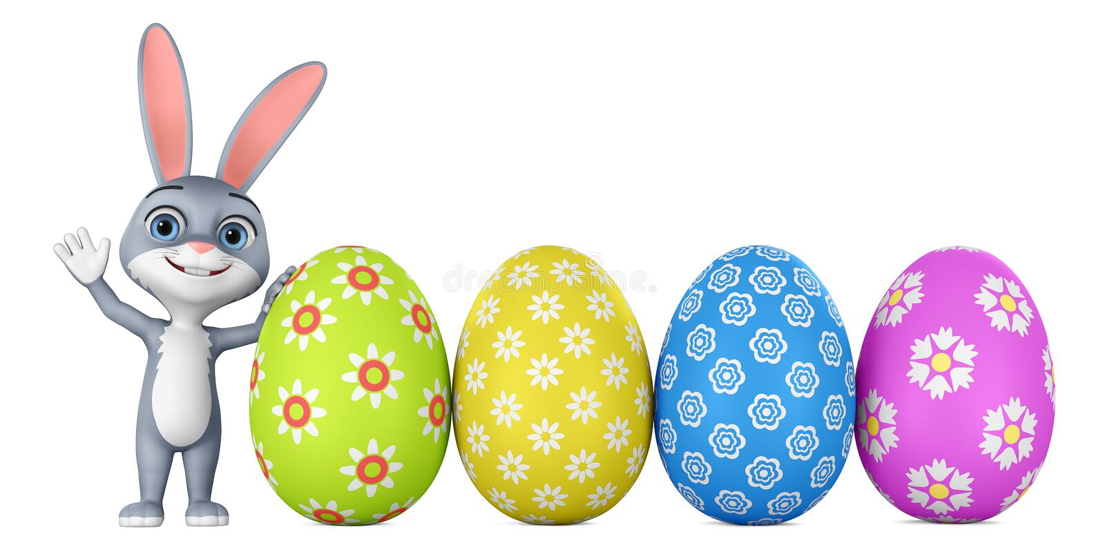 Cartoon character bunny and colorful easter eggs on white background. 3d rendering. Illustration for advertising stock illustration
