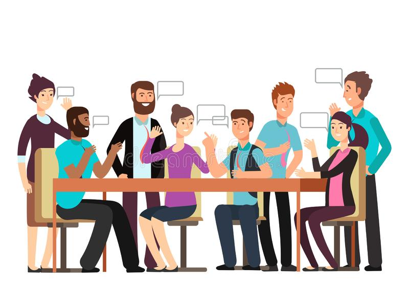 Cartoon character business team have conversation. Woman and man at morning meeting. Illustration of discussion and talk, speech talking brainstorm royalty free illustration