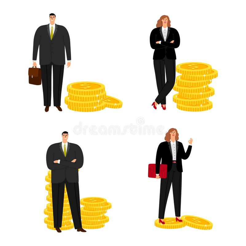 Cartoon character businessman and businesswoman with coins vector isolated on white background royalty free illustration