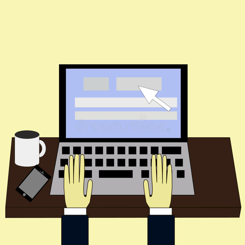 Cartoon character, Businessman hand on computer laptop., eps10, typing hands, working with laptop drinking coffee. Cartoon character, Businessman hand on royalty free illustration