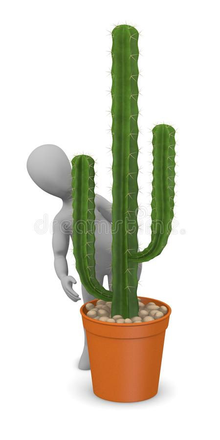 Download Cartoon Character With Cactus - Hiding Behind Stock Illustration - Image: 24352214