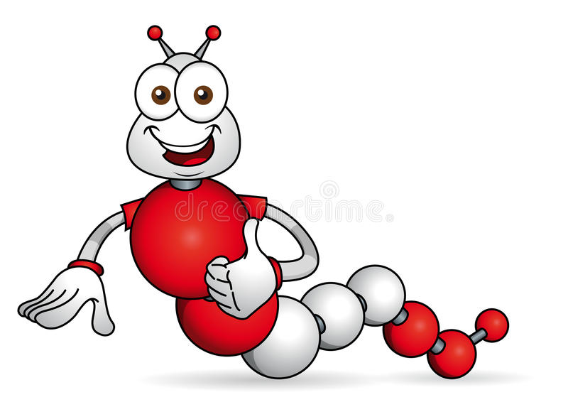 Cartoon character. Caricature of worm with hands formed by spheres with the colors of the flag of Peru. stock illustration