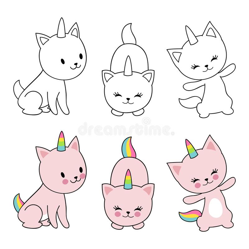 Cartoon character cats unicorn isolaten on white background. Kids coloring with cute kittens stock illustration