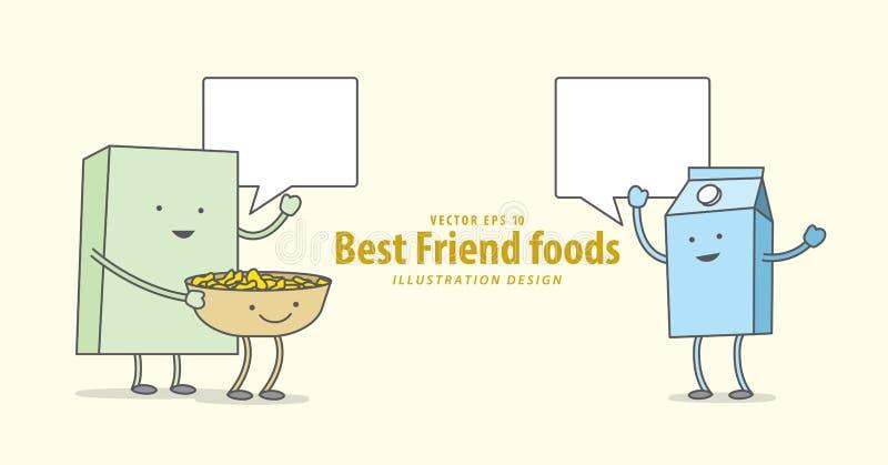 Cartoon character of Cereal or Muesli, Bowl, Milk Breakfast t vector illustration