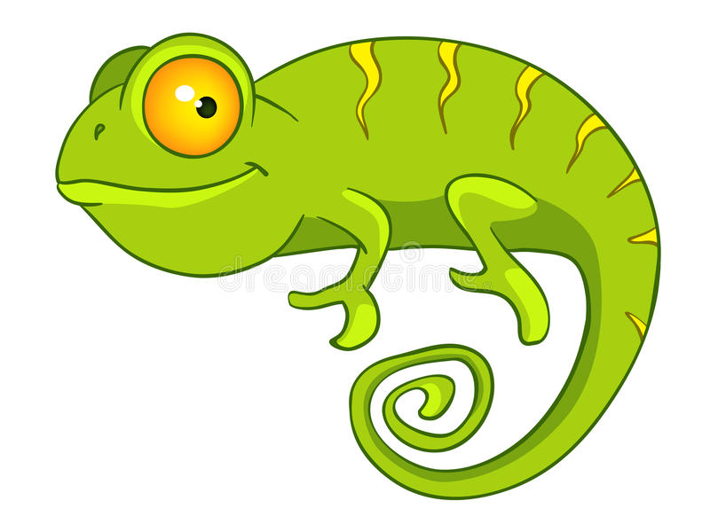 Cartoon Character Chameleon stock illustration
