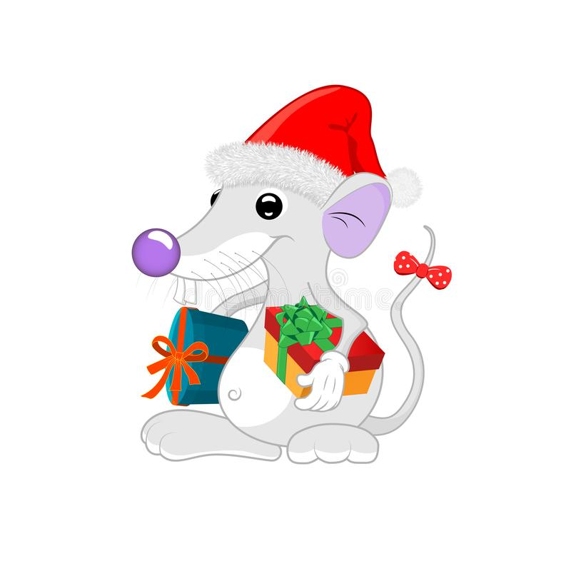 Cartoon character, charming white rat in a New Year`s cap and with gifts under both hands. vector illustration