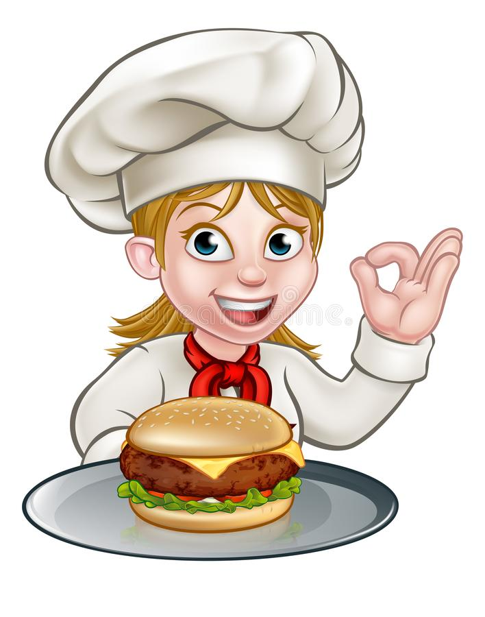 Cartoon Character Chef Woman Holding Burger vector illustration
