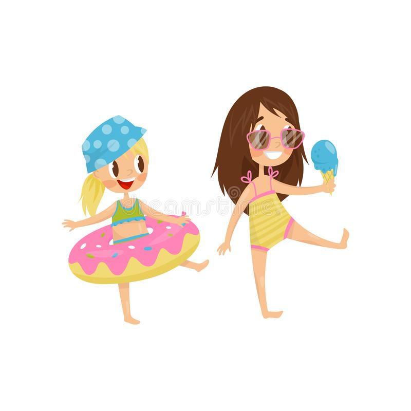 Cute little kid with rubber swimming ring. Funny girl with ice-cream in hand. Summer recreation. Flat vector design stock illustration