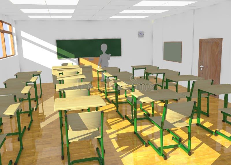 Cartoon character in classroom teaching no one
